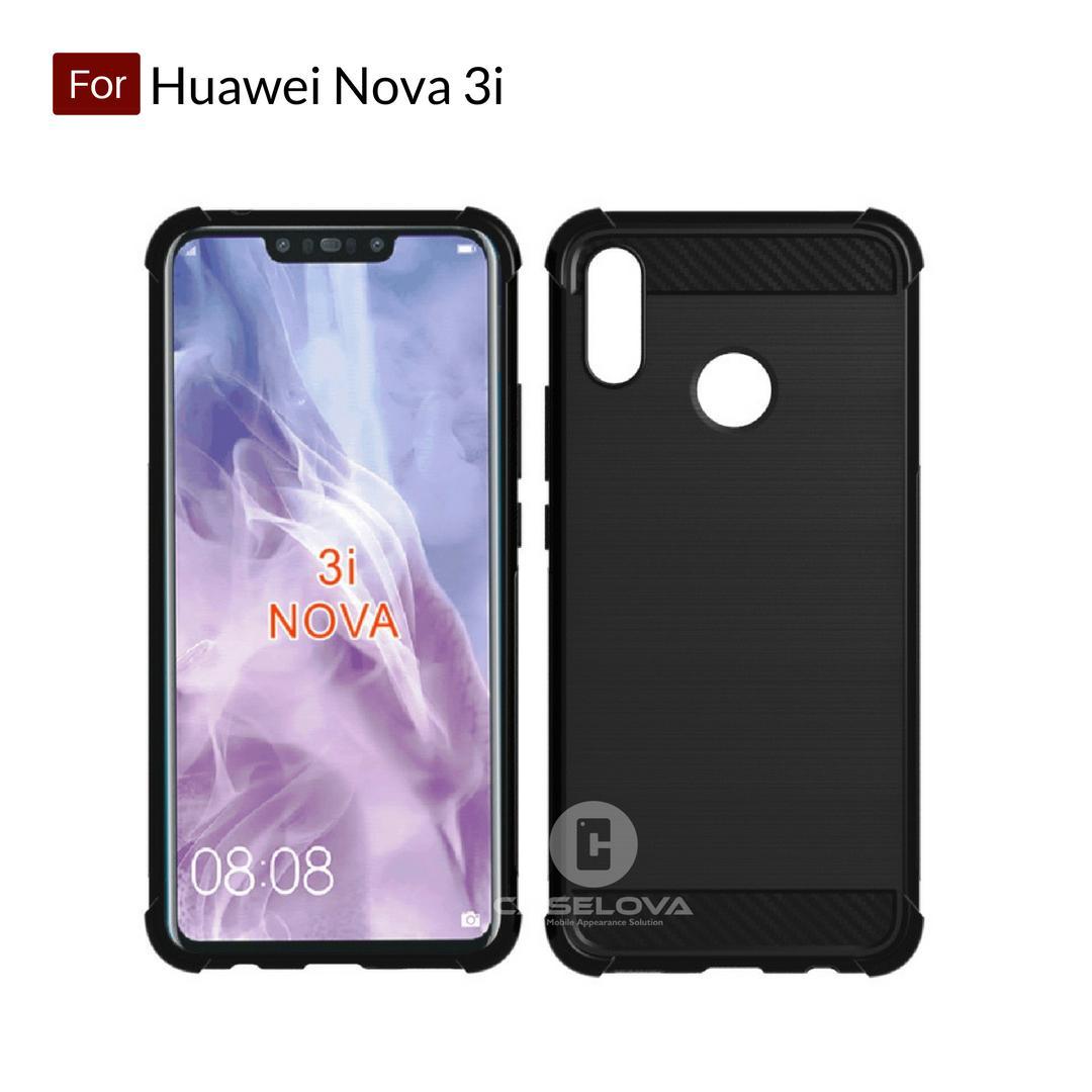 Caselova Corner Protection Cushion Premium Carbon Shockproof TPU Case For Huawei Nova 3i - Hitam