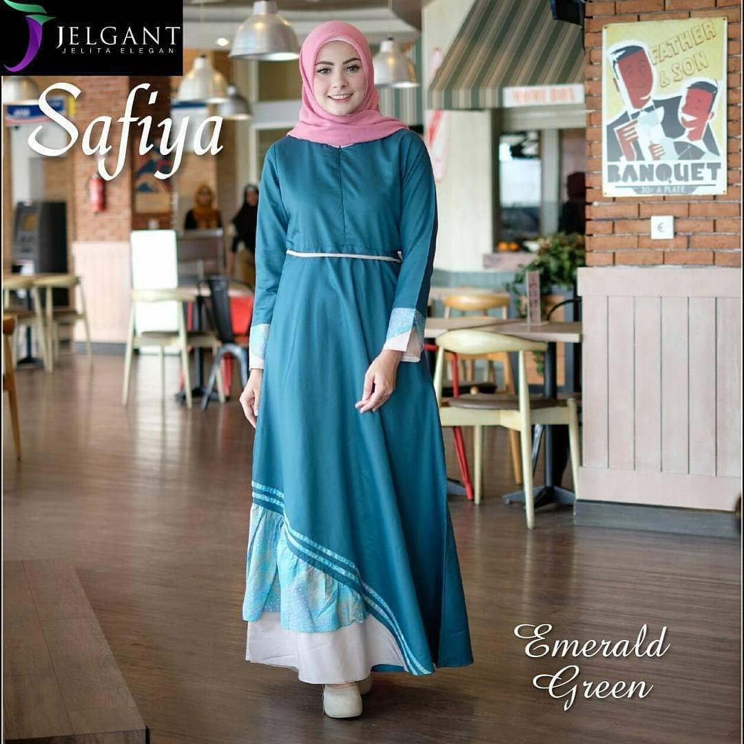 Busana Wanita Muslim Model mal SAFIYA DRESS Bahan Balotely Mix Katun Motif yang Modis Trendy dan Elegant