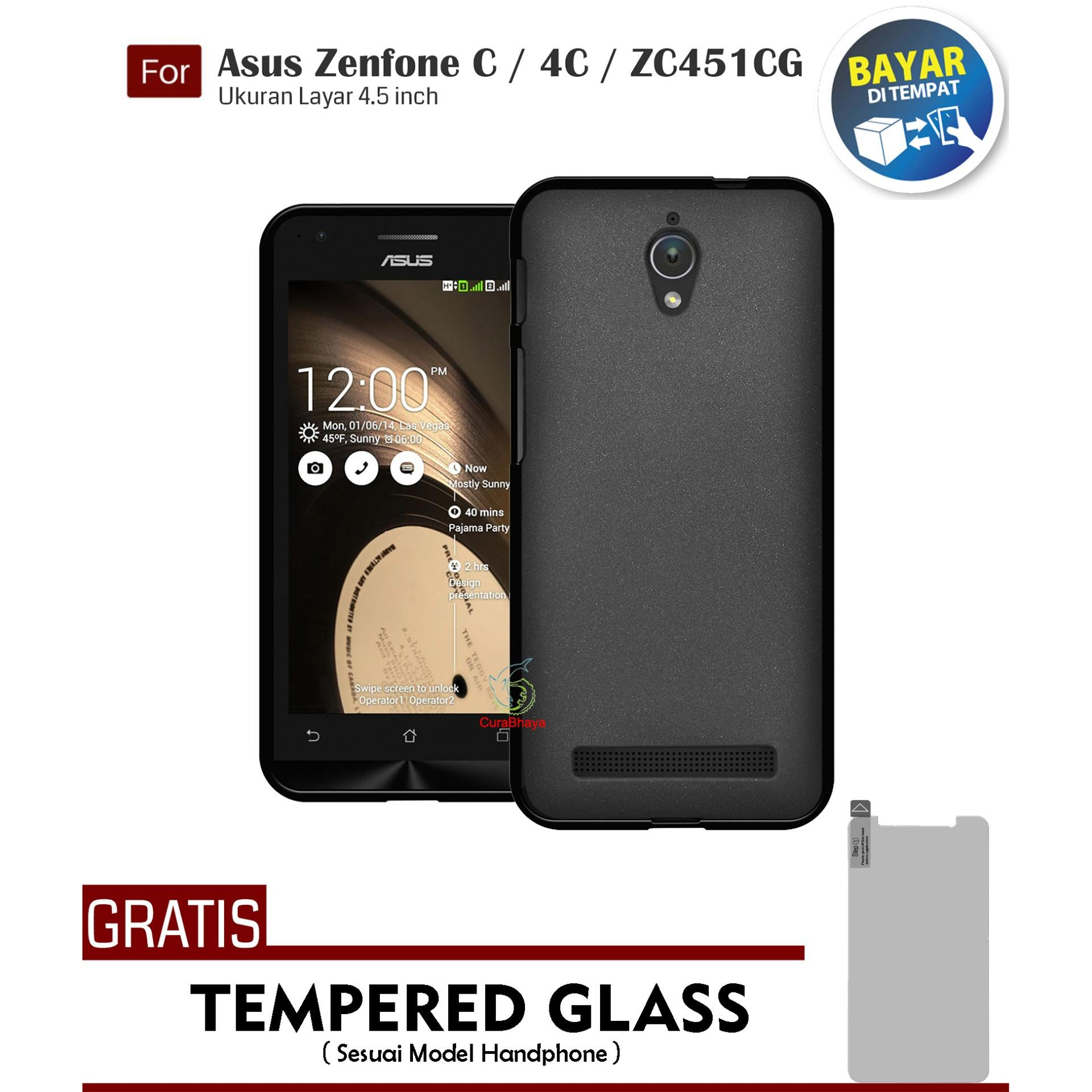 MidNight Asus Zenfone C / 4C / ZC451CG | Slim Case Black Matte Softcase Premium Baby Skin + Gratis Free Tempered Glass Screen Protector