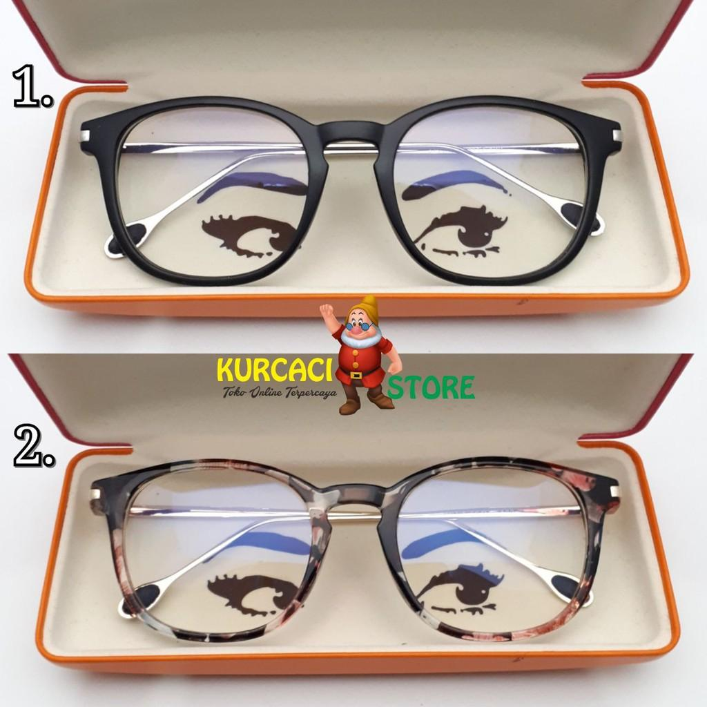 Frame Kacamata Wanita Betsy Retro Transparan Clear Murah Bisa Pasang Lensa/ Bisa Untuk Fashion Minus Variasi hitam flower