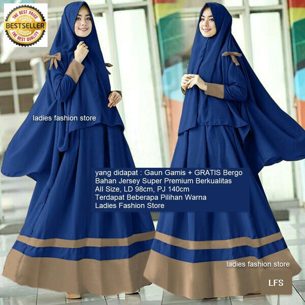 Gaun Muslim Wanita Syari GRATIS KERUDUNG   Muslimah Gamis Polos   Dress  Pesta Muslim   Gamis c51223b895