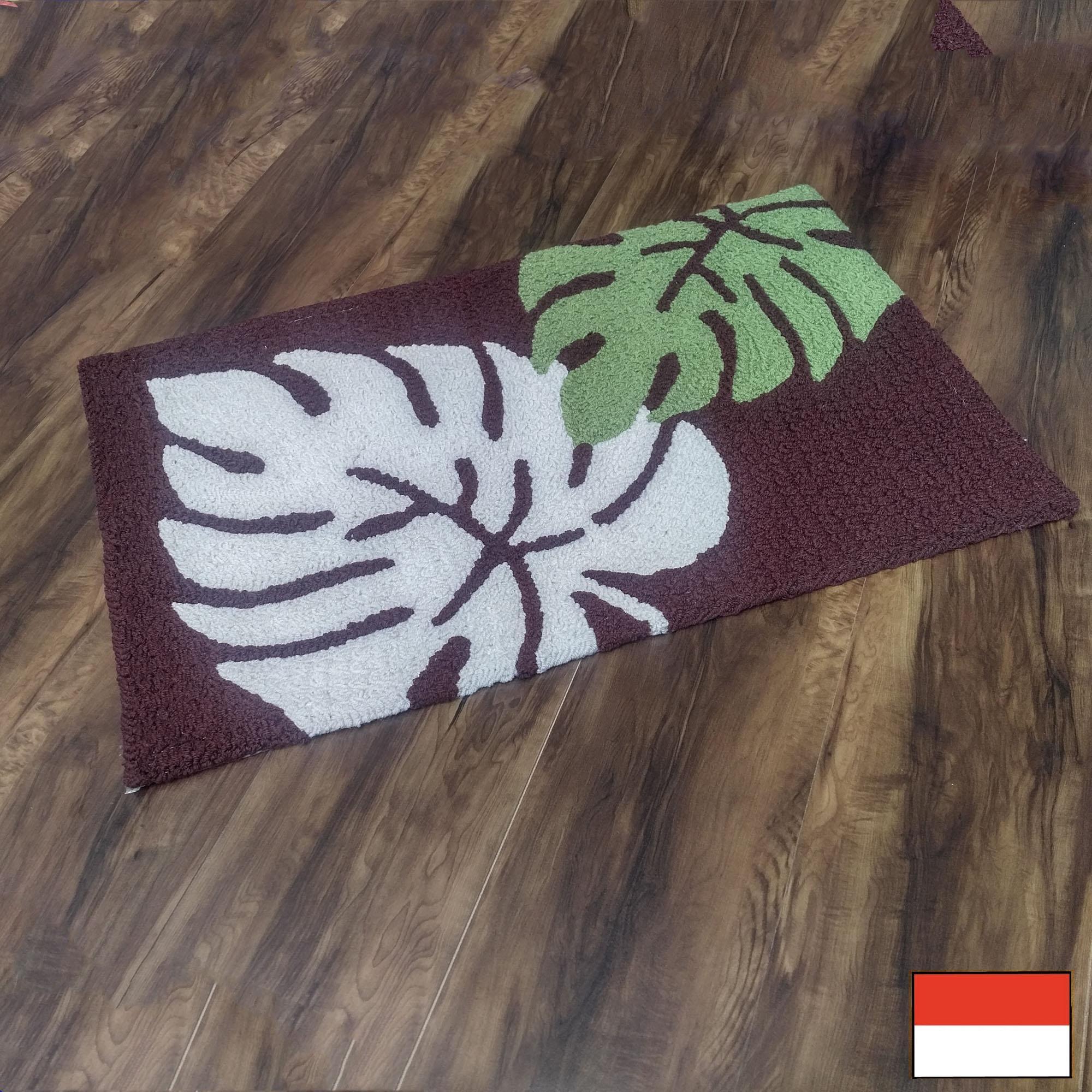 Tren-D-rugs - Keset Kaki Anyaman Bulu Acrylic 50 cm x 80 cm / Keset Dapur- Leaf - NMs