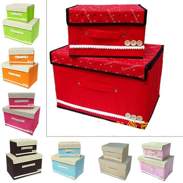 PROMO TERKINI Household Storage set 2 in 1 box penyimpanan Mainan tas Pakaian baju TERLARIS