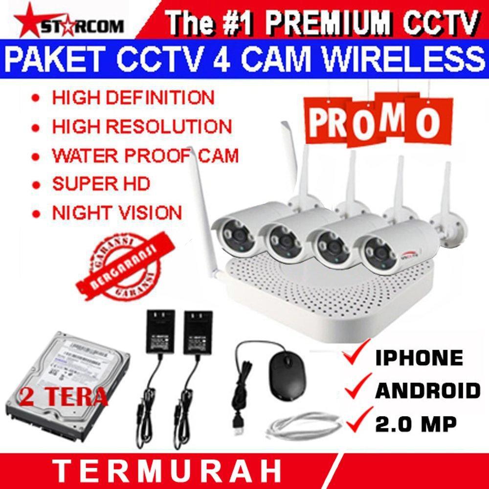 PAKET CCTV WIRELESS 4 IP CAMERA 2.0 MEGAPIXEL IP KAMERA SUPER HD PLUS HARDISK 2 TERA SIAP PAKAI