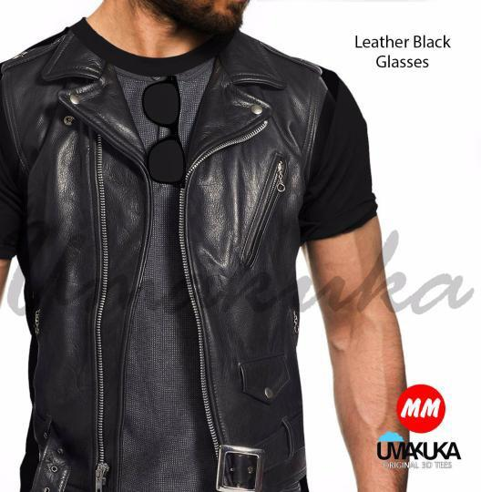 leather black glases kaos 3d  umakuka fullprint