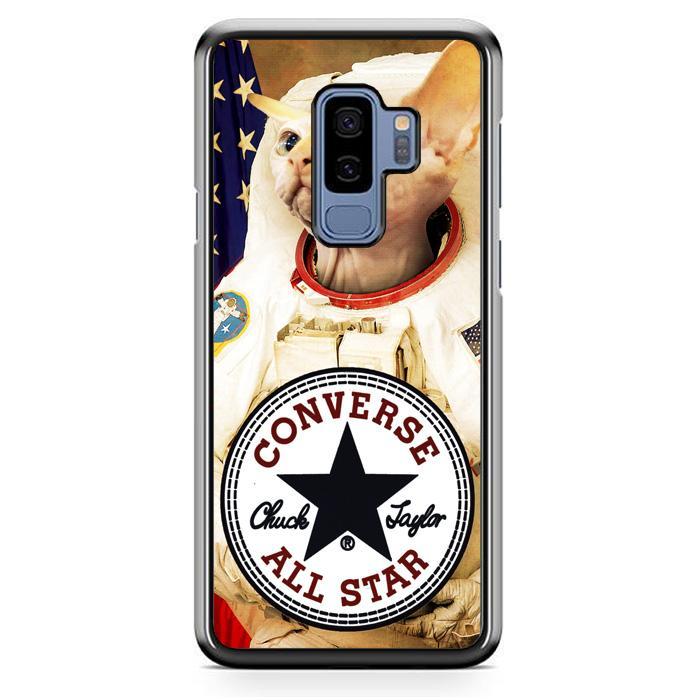 Casing Hardcase Samsung Galaxy S9 Plus Motif Astronaut Cat Converse W3097
