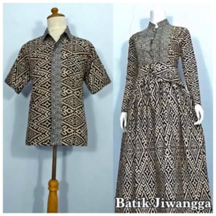 Baju Couple Sarimbit Batik Gamis Wanita Mayang Hitam, Busui