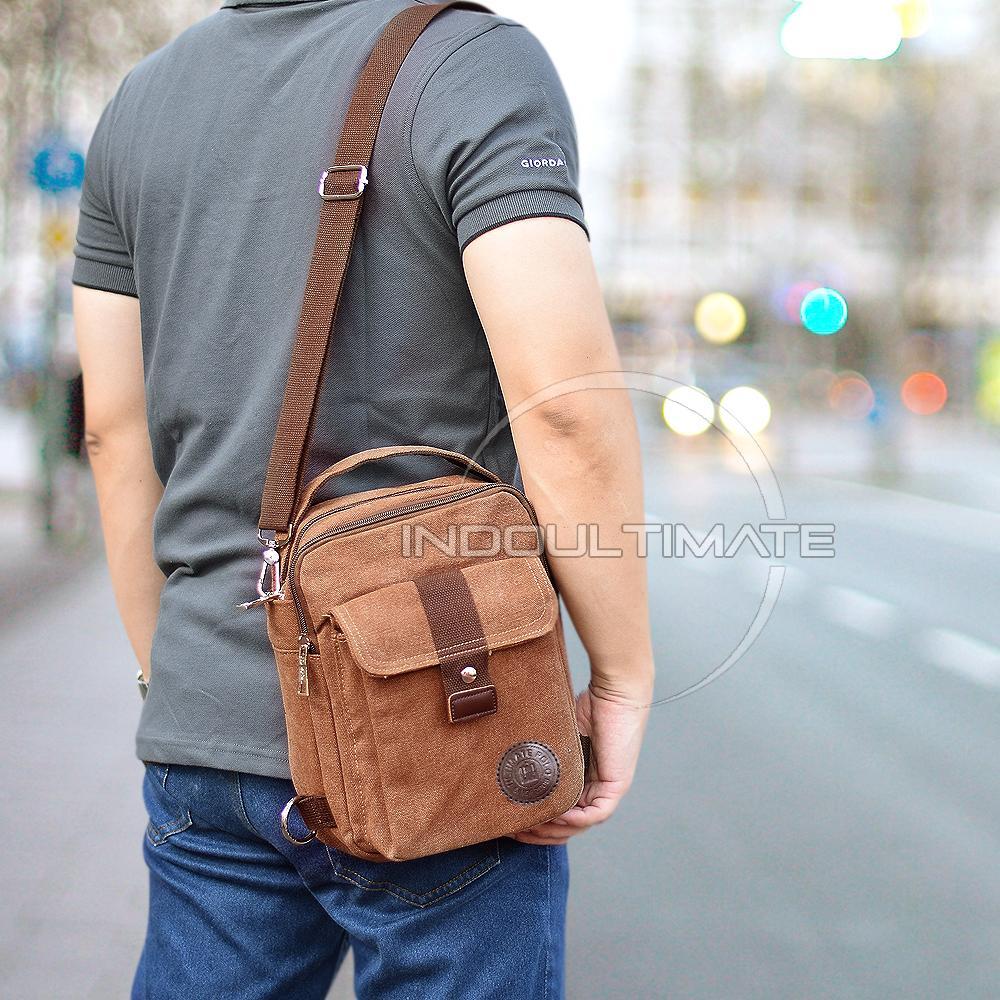 Tas Messenger Pria Murah Terbaik Xiaomi Shoulder Crossbody Bag Selempang Ransel Original 3in1 Real Picture Kanvas Slempang Vintage Ab 815