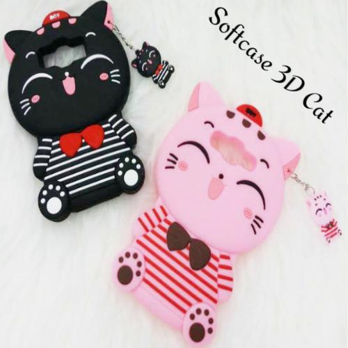 Softcase 3D Case For SAMSUNG GALAXY J1 ACE Boneka Timbul 4D Karakter CAT BLACK / PINK - ABS