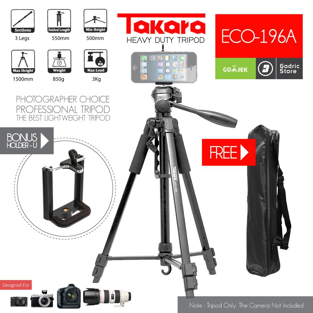 Takara Tripod ECO-196A Camera DSLR 196A With Bag & Holder U Smartphone