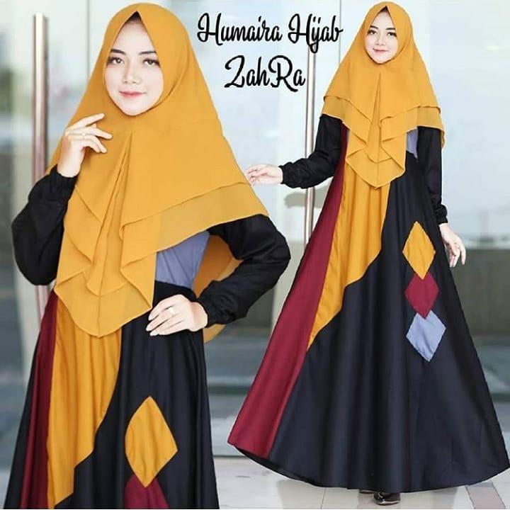 Assyifashop - Zahra Syari Dress Panjang Baju Gamis Wanita Muslim Berhijab Dress+Khimar Trendy Terupdate Termurah Fashionable