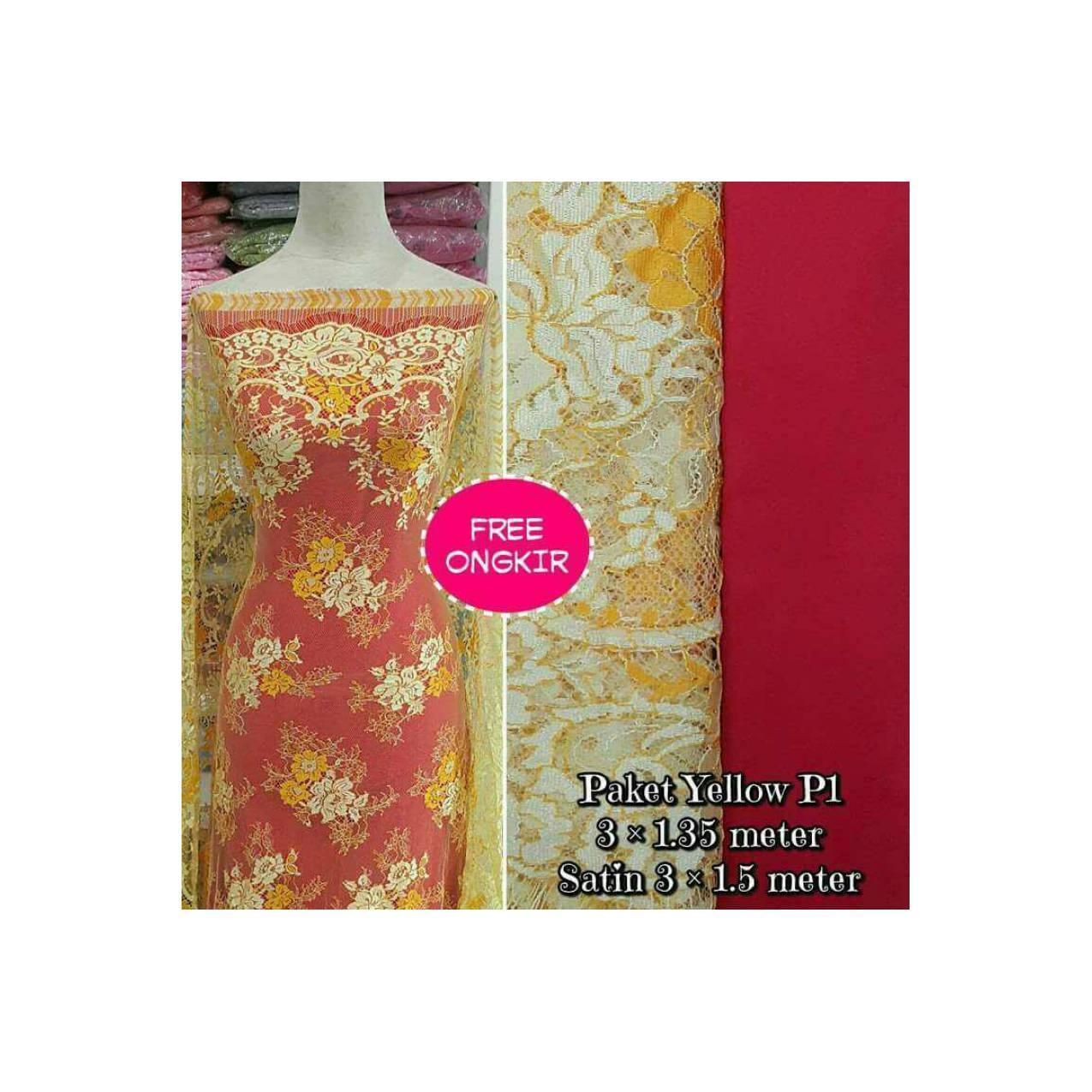 Brokat Bahan Kain Kebaya Dress Baju Muslim Gamis Paket Yellow P1