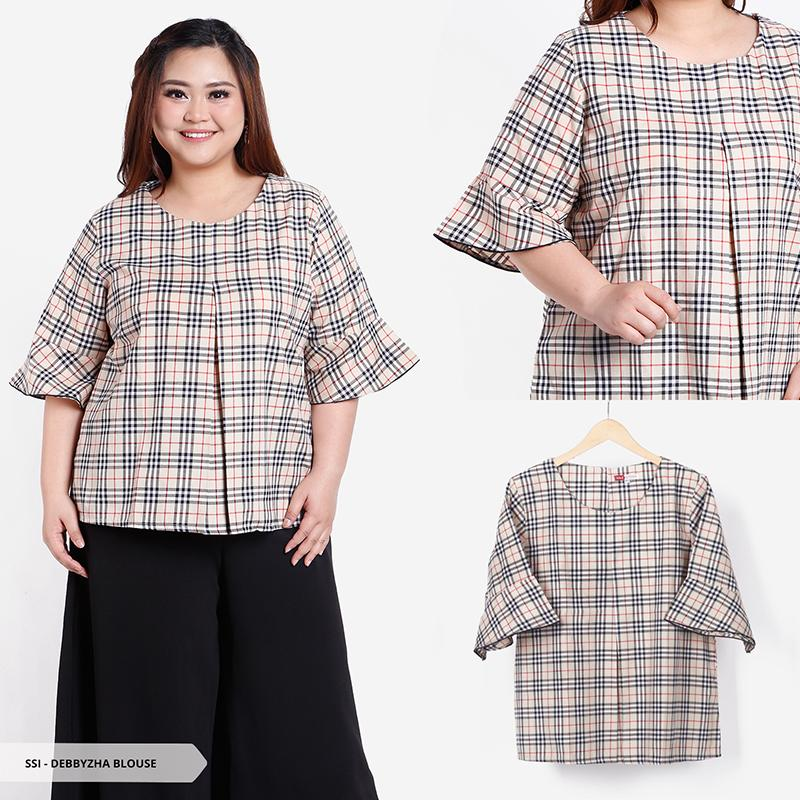 Debbyzha Tartan Trumpet Sleeves Big Blouse-Choco