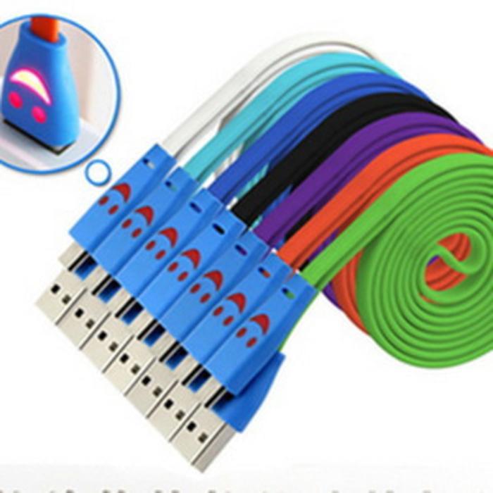 Kabel Data Smile Menyala Microusb 1 Meter - BB- Samsung- Android- Etc