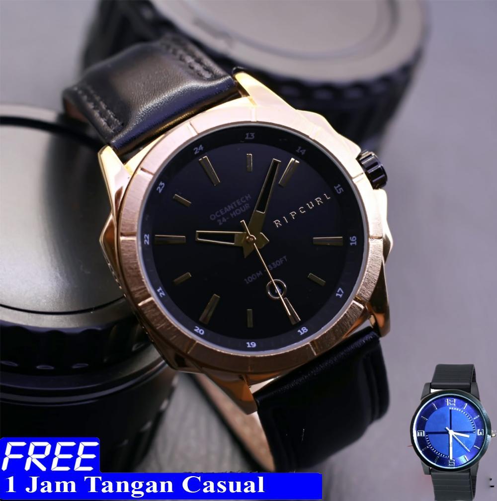 Ripcurl - Jam tangan pria - tali kulit - tanggal aktif - bonus 1 jam