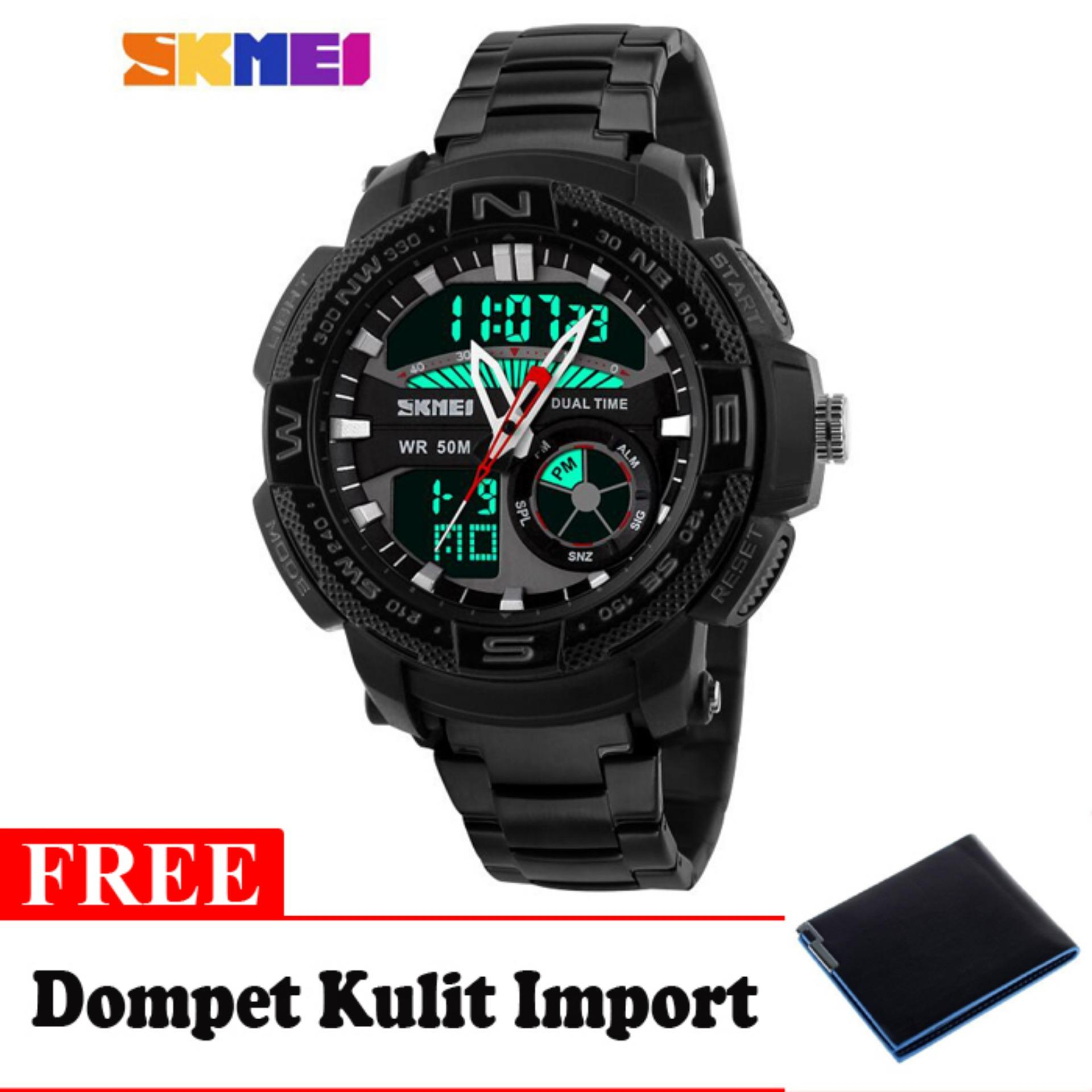 SKMEI Goliath Hitam - Jam Tangan Pria - Rantai Stainless Steel - 1121 Dual Time Black + Free Dompet Kulit Import