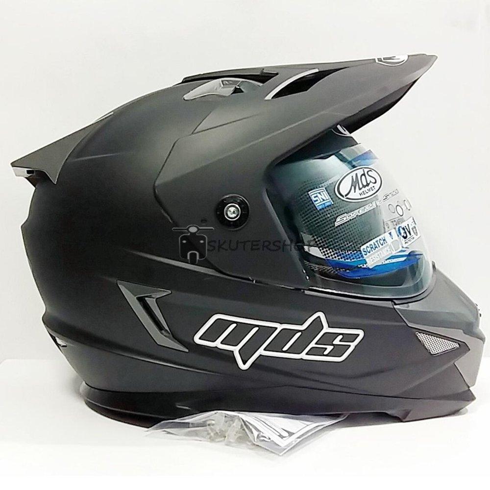 Helm Full Face Motor Cross MDS Super Pro Supermoto Double Visor Yamaha Ninja Honda Black Dop / Hitam Dof