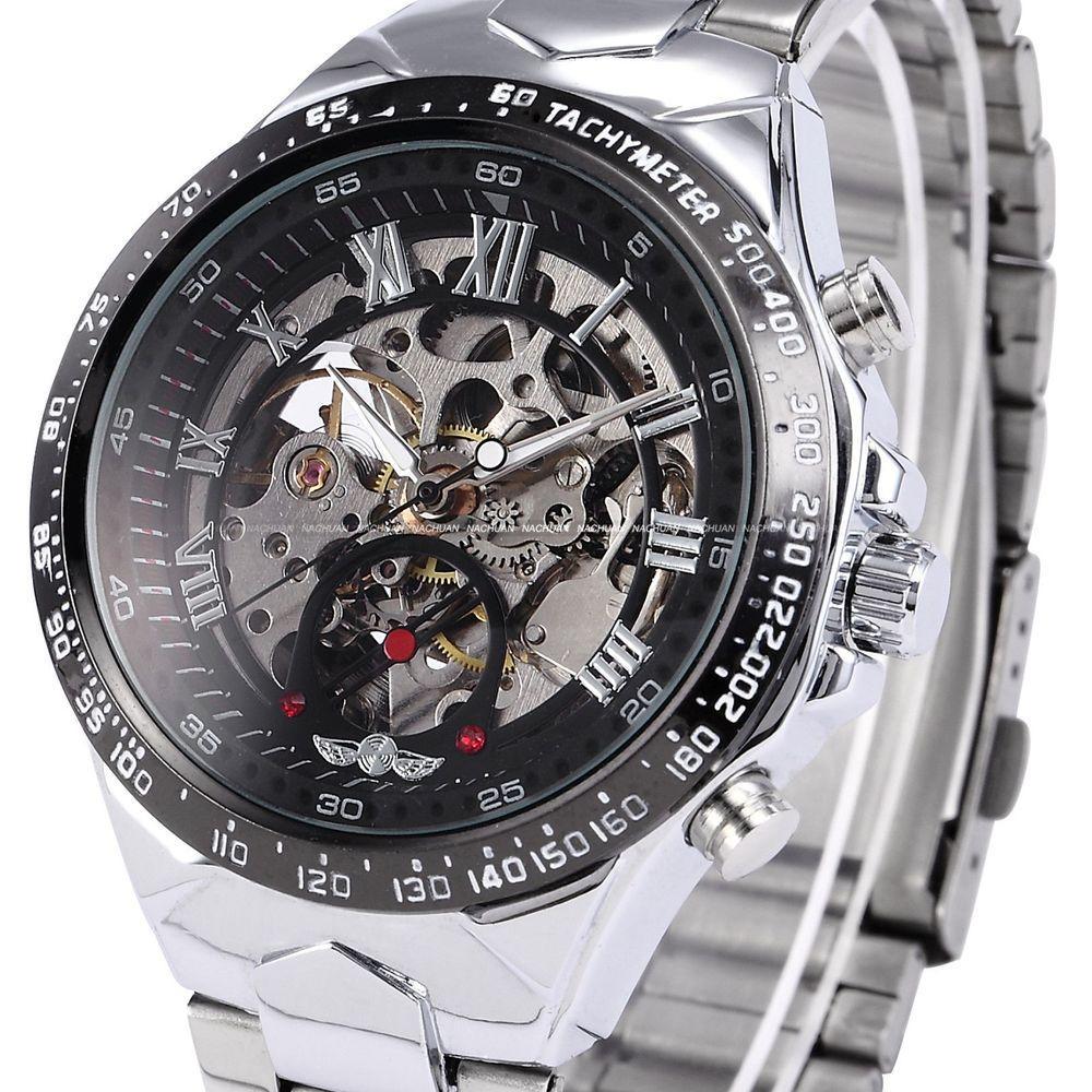 Merek Pemenang Watch Mewah Fashion Vintage Stainless Steel Clock Hitam  Piringan Romawi Otomatis Kerangka Mekanikal Jam b586becc5f