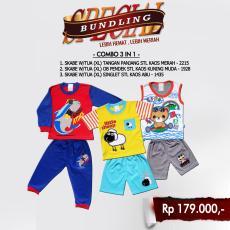 Paket Hemat Waka Set Pakaian Anak Setelan Baju Anak Laki Laki - D