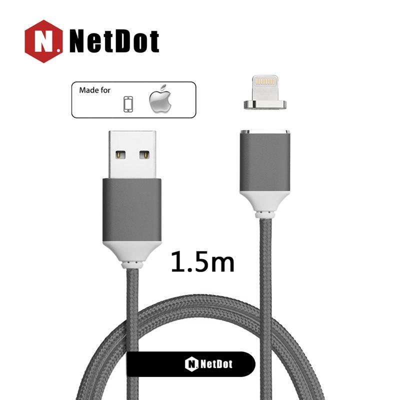 NetDot 1.5 M Gen2 Lightning ( iPhone ) Cepat Pengisian Transfer Data Magnetik Kabel Anda Apple Perangkat
