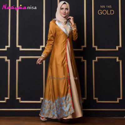 Nasywanisa NN145 Gamis Dress Panjang Ibu Menyusui Batik - Gold