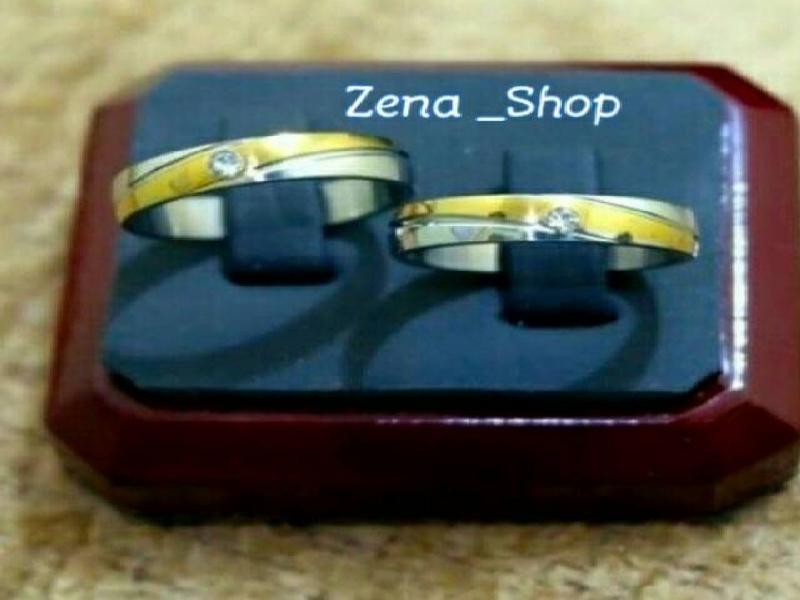 Cincin Couple Titanium Kombinasi Free Ukir Nama + Free Box