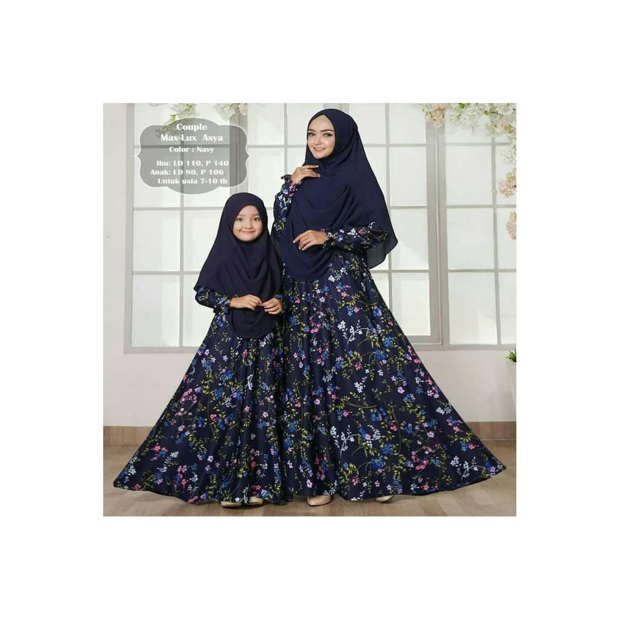 baju Couple gamis syari Murah / maxi dress pesta ibu anak asyya navy