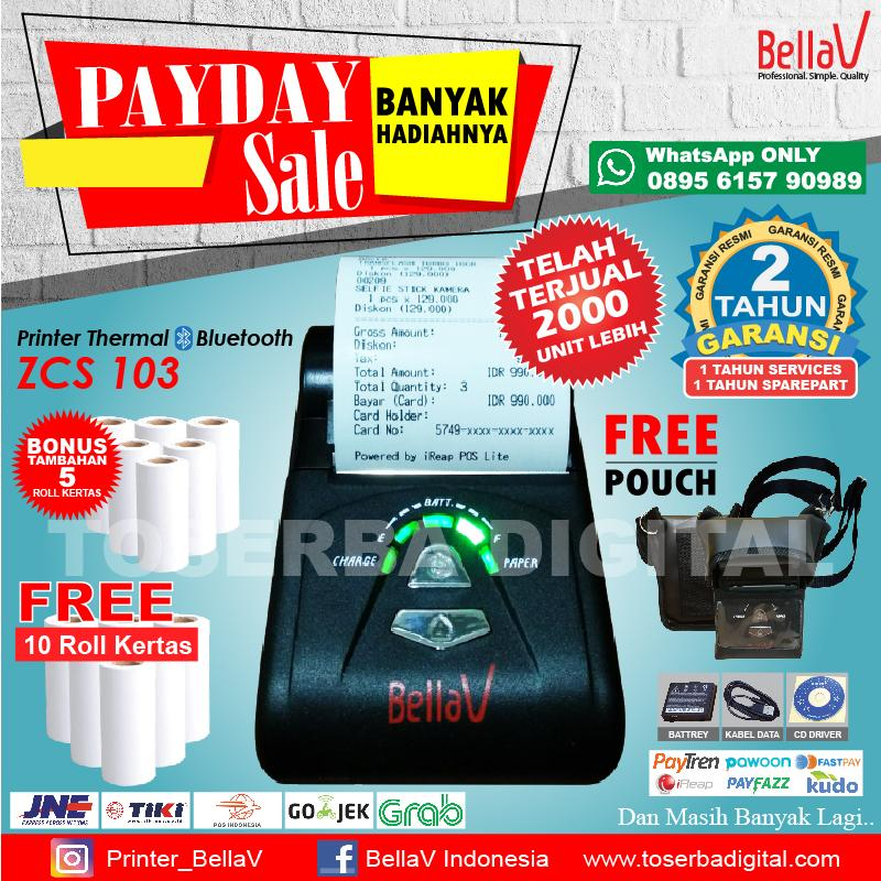 PRINTER BLUETOOTH THERMAL BELLAV ZCS 103 Support Paytren FastPay Kudo ireap DLL FREE 10 ROLL KERTAS PLUS POUCH