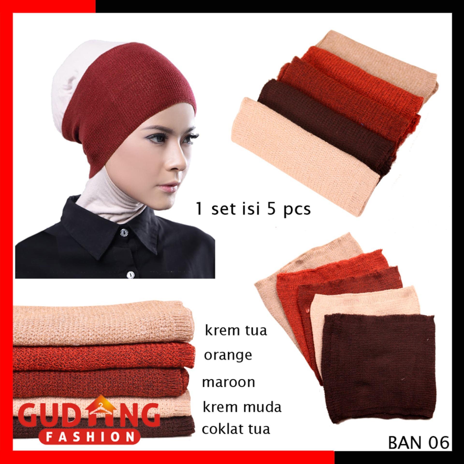 Gudang Fashion - Bandana Ciput Rajut 2 Warna Murah Isi 5 Pcs - Kombinasi Warna