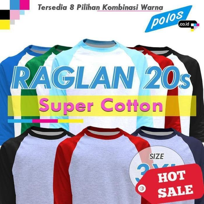 HOT PROMO!!! Kaos Raglan Polos Super Cotton 20s Unisex Ukuran JUMBO 3XL