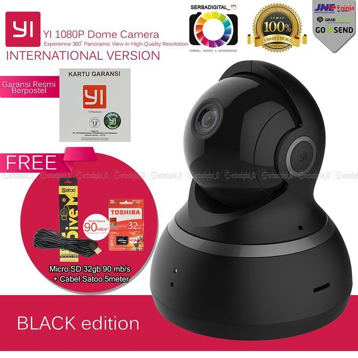 Hot Item!! Xiaomi Yi Dome CctvU002F Ip Camera 1080P Full Hd Serba Paket Lengkap - Hitam - ready stock