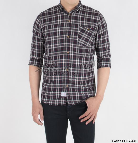 kemeja flanel pria slimfit lengan panjang dan kemeja motif kotak bahan flannel slim fit cowok flev-431