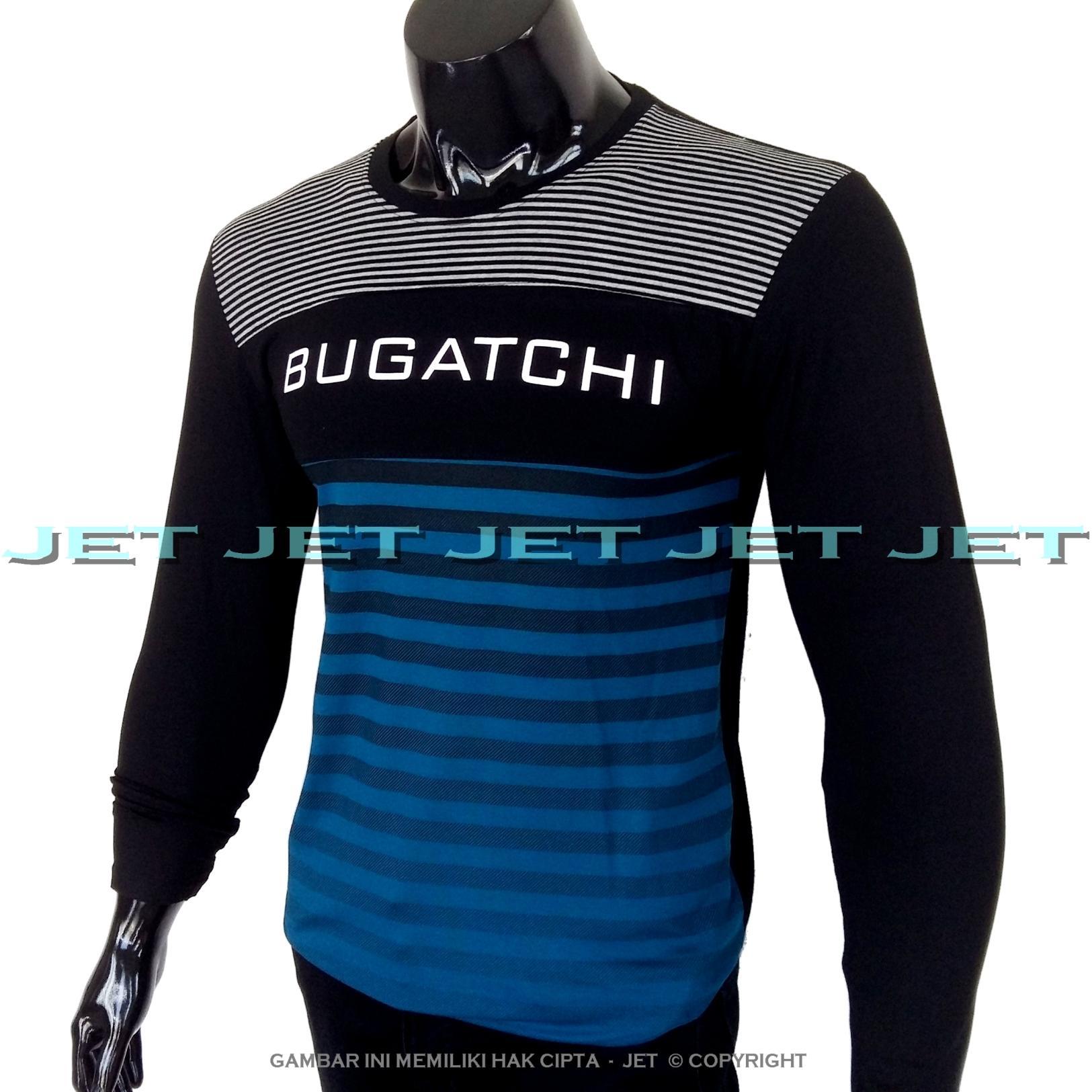JET - Kaos Distro BUGATCHI Lengan Panjang Soft Rayon Viscose Blended Lycra Size M Fit To L Pria / Wanita Garis Salur Motif Visual Art