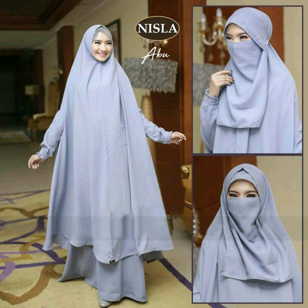 Nislah Syari Gamis Maxi Dress Polos Jumbo fit M to XXL plus khimar pad antem free niqob cadar di lapak anayanda shop anayandashop