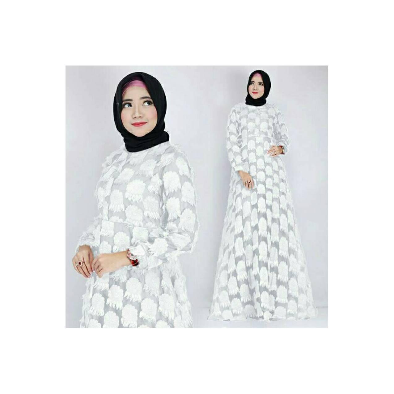 Gaun Dress Panjang Baju Gamis Wanita Muslim Lebaran Warna Putih