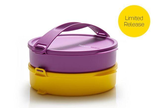 Tupperware Click To Go Round - Rantang 2 susun ungu kuning