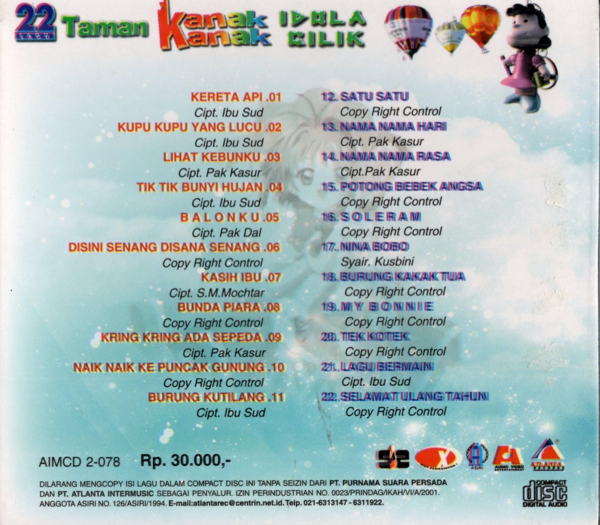 CD AUDIO ORIGINAL 22 LAGU TAMAN KANAK KANAK IDOLA CILIK