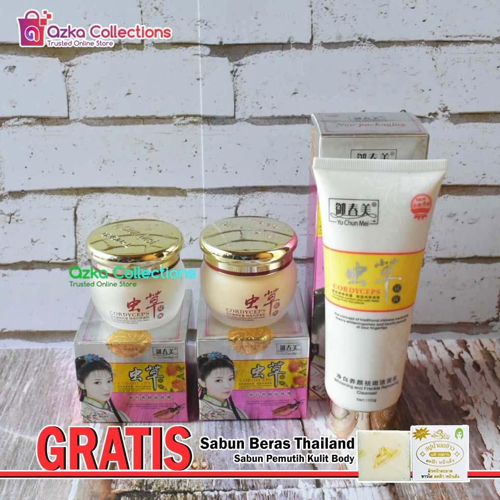Cordyceps Yu Chun Mei Paket Cream Day and Night Plus Sabun Cair - Gratis Sabun Beras