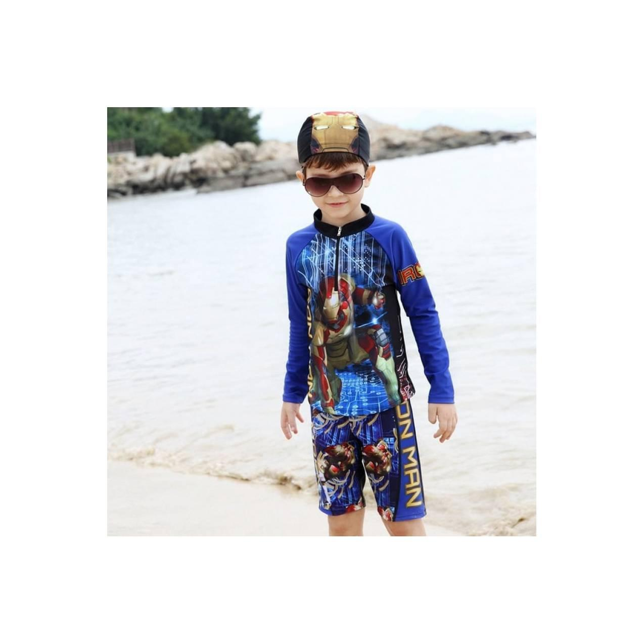 baju renang fashion anak cowok iron man tangan panjang swimming diving
