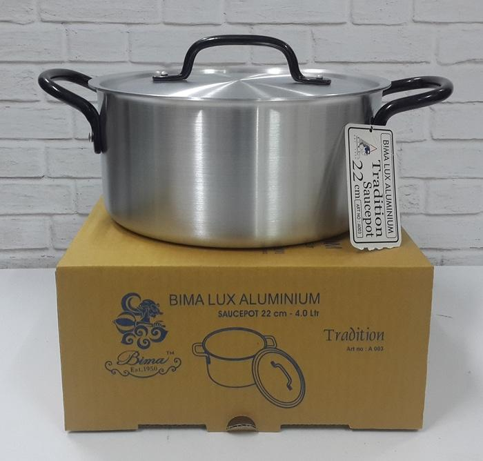 Original BIMA PANCI ALUMINIUM SAUCEPOT 22CM 4,0LITER MADE IN INDONESIA - A003