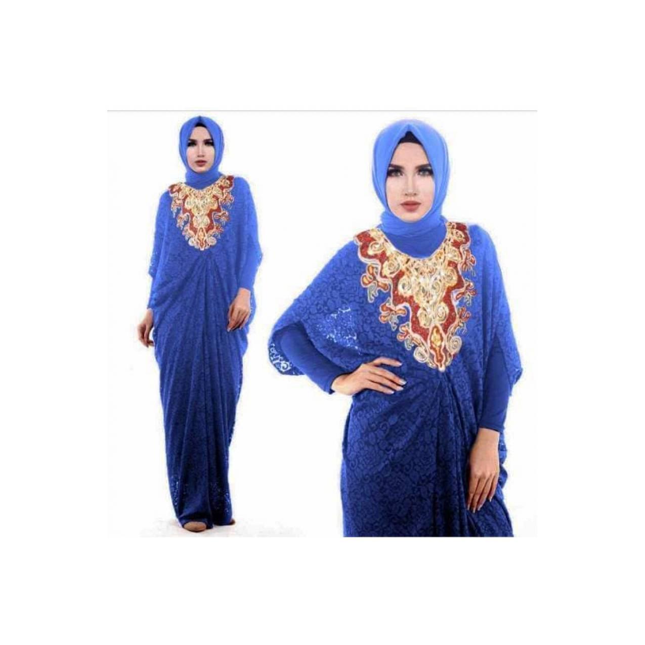 BAJU Kaftan dress Baju Muslim Gamis Kaftan Brokat IMELDA (NAVY, BLUE)
