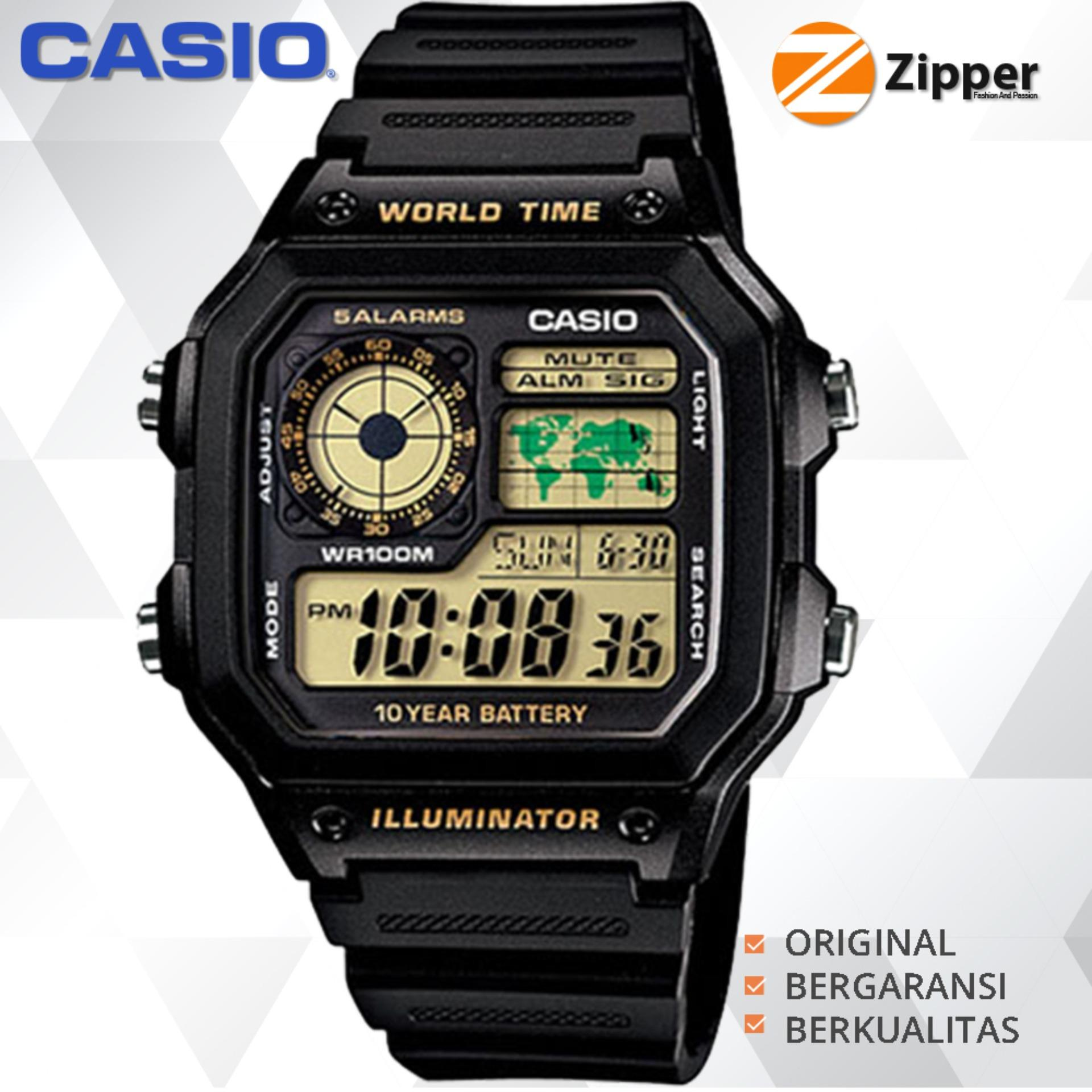 Casio Illuminator Jam Tangan Digital AE-1200WH-1BVDF Youth Series - Tali Resin