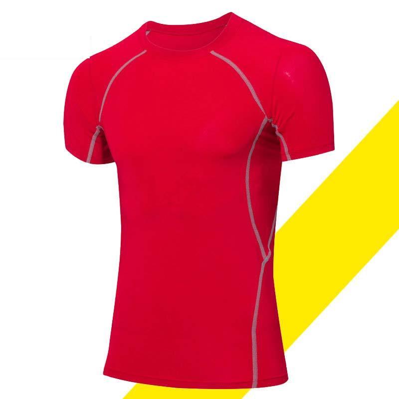 Pria Profesional Kebugaran T Shirt Pelatihan Kaus Kompresi Lengan Bang Pendek Gym Bangunan Tubuh Baju Fitness