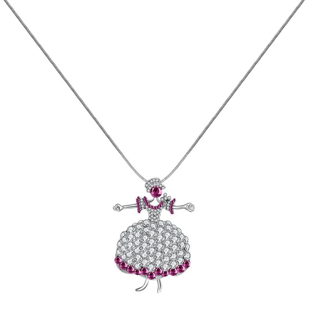 Perdagangan luar negeri aksesoris fashion liontin kaca ledakan Kalung Perhiasan Kalung aksesoris grosir FSN151-B berlian merah muda FSN151