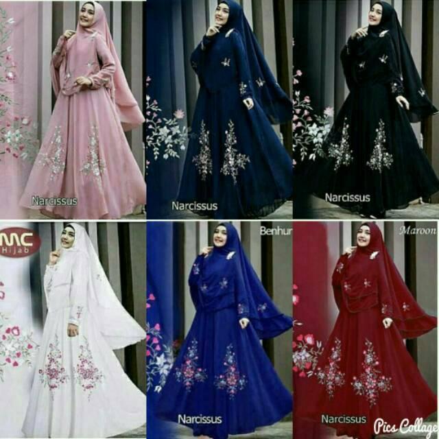 gamis syari bordir + hijab bergo biru navy hitam dusty pink maroon putih benhur bahan jersey