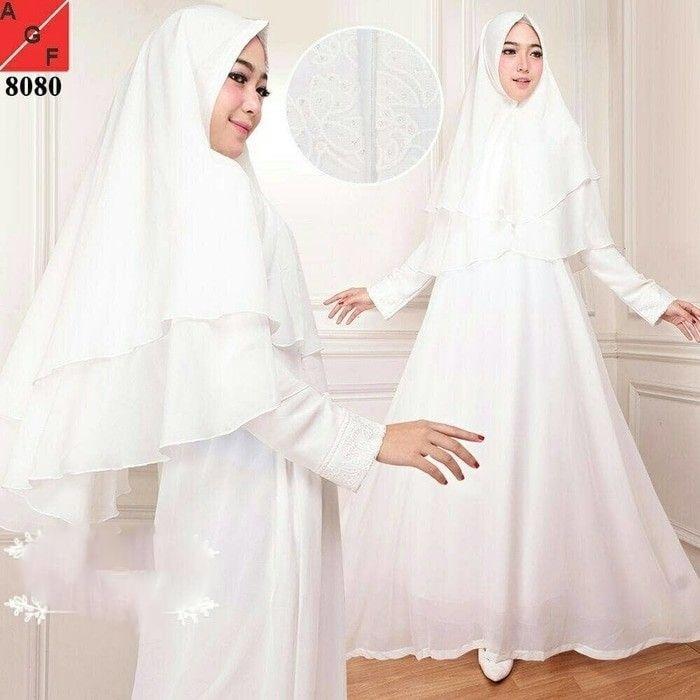 Gamis putih Gamis umroh Baju manasik Baju Haji Busana muslim wanita