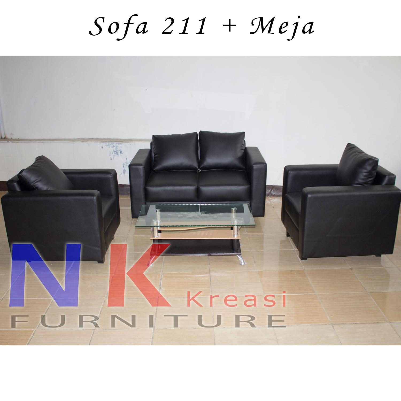 Sofa kursi Ruang Tamu Minimalis 211, kursi sofa kantor + MEJA TAMU - JABODETABEK ONLY