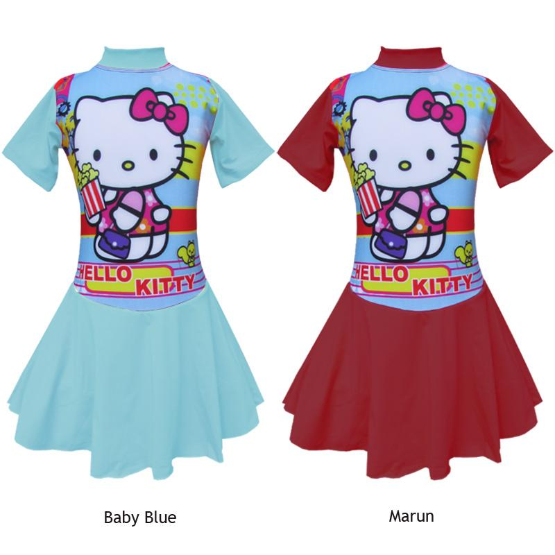 Baju Renang Diving Rok Anak Karakter Hello Kitty Popcorn Size SD