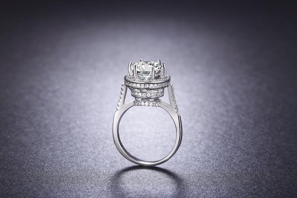 NEW Promo Perhiasan Cincin Berlian Emas Putih Bague Super Tinggi Perhiasan Mewah BR138 Murah
