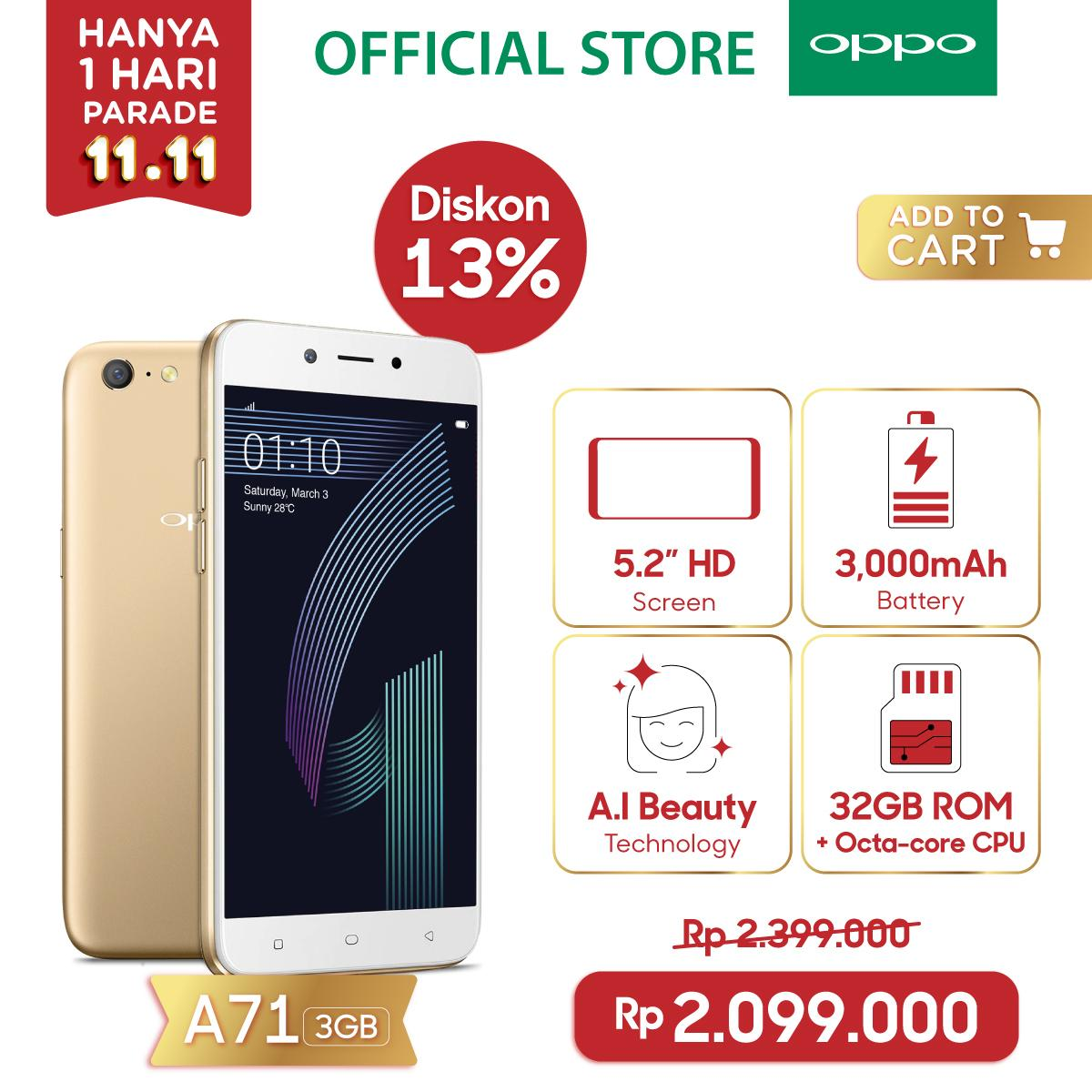 OPPO A71 SMARTPHONE 2018 3GB/32GB Gold , A.I Beauty Technology, Speedy Operation (COD, Garansi Resmi OPPO, Cicilan tanpa kartu kredit, Cicilan 0%, Gratis Ongkir)